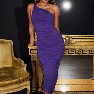 Brand New With Tag. Ruched Midaxi Dress in Purple.